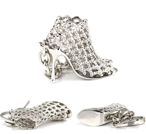 shoe bootie key ring silver