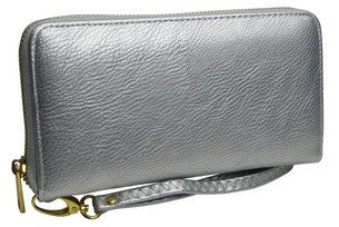 single zip wallet in silver