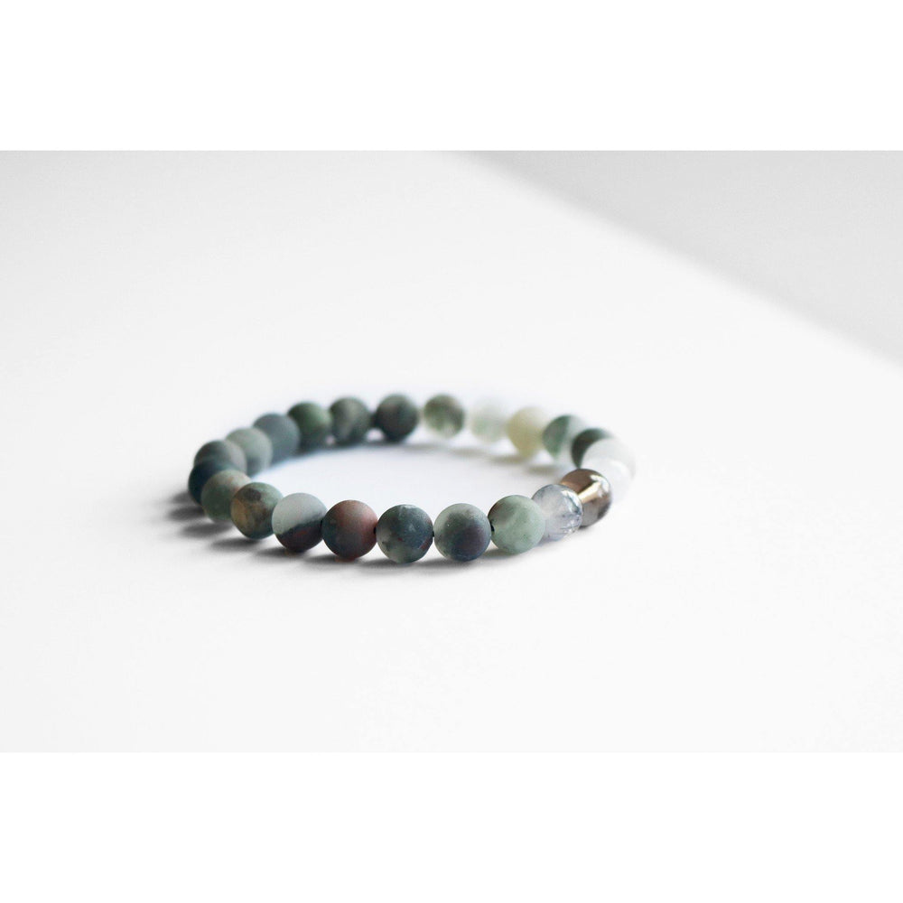 Bloodstone + Quartz Stretch Bracelet