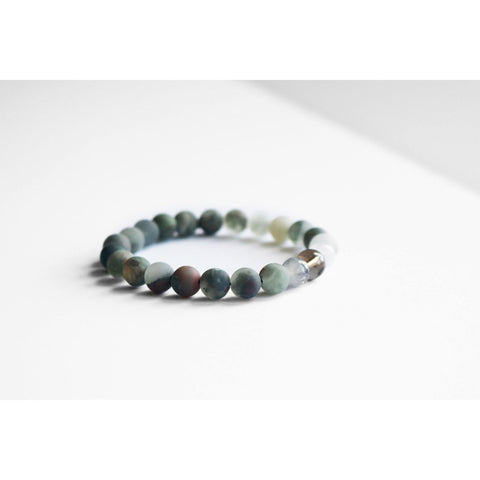 BLOODSTONE AND QUARTZ BRACELET MENS thumbnail