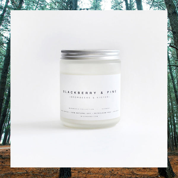 MIZU brand Blackberry and Pine Essential Oil Soy Candle
