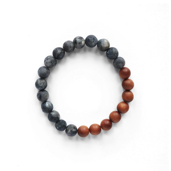 Black Labradorite and Sandalwood Stretch Bracelet