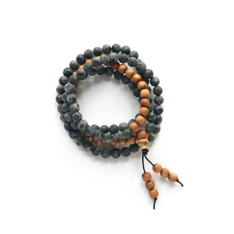 Black Labradorite and Sandalwood Mala Thumbnail