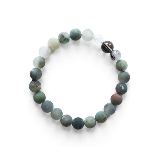 BLOODSTONE AND QUARTZ BRACELET full