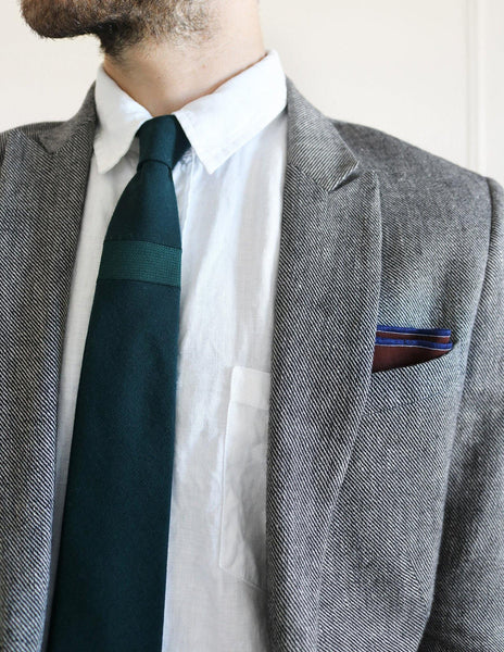 Himalaya Brick Cotton Pocket Square  model look