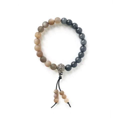 Moonstone and grey jade gemstone mala bracelet