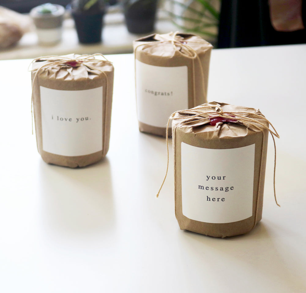 MIZU brand candle gift wrap with custom message