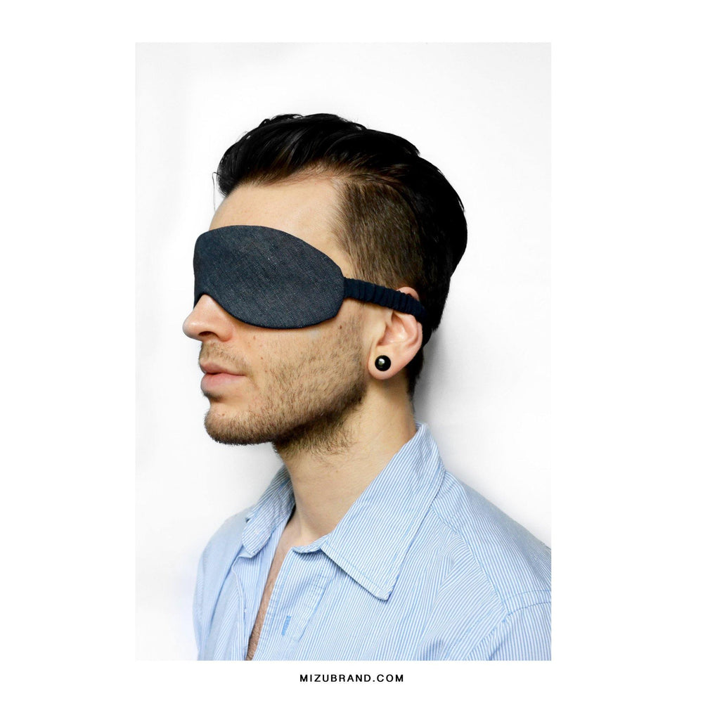 Chambray and silk sleep mask mens look