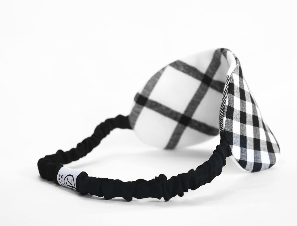 Yarn dyed gingham cotton eye mask full look