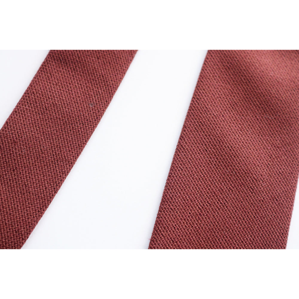 POTALA RED COTTON NECKTIE CLOSE UP