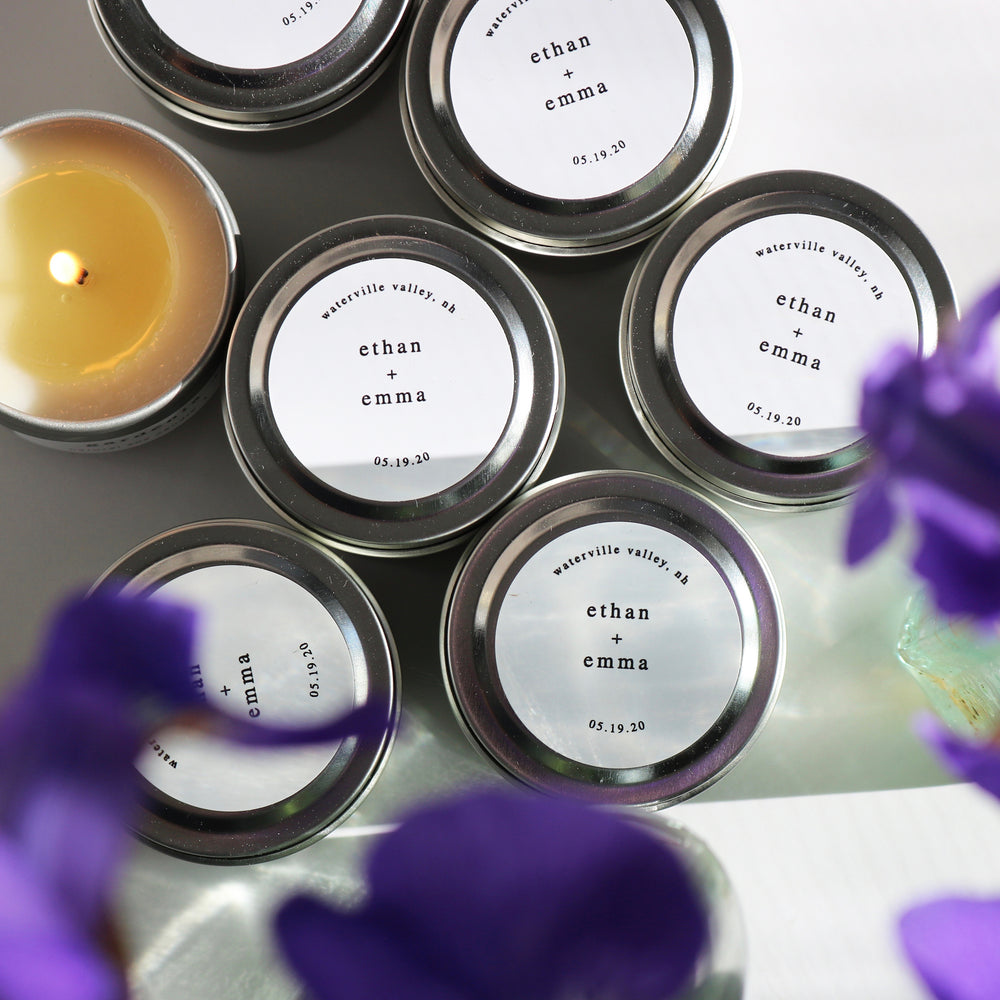 personalized natural soy candle wedding favors minimalist design
