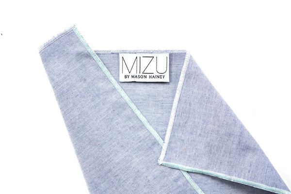 Cotton Chmabray Pocket Square in Mint Block