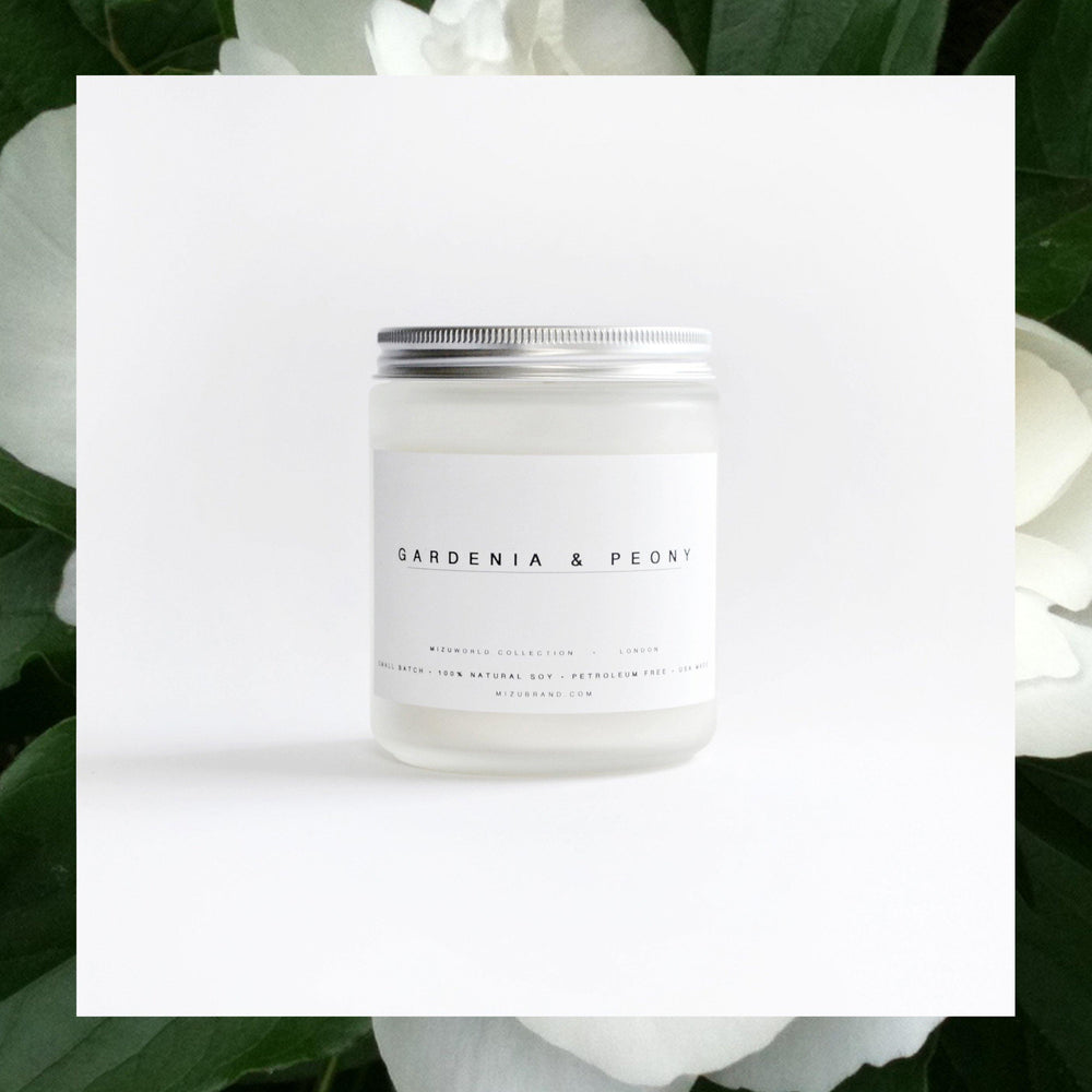 MIZU brand Gardenia and Peony Natural Soy Candle