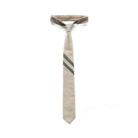 Highland Necktie in Italian Striped Cotton
