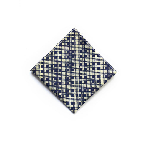 Japanese Cotton Pocket Square in Indigo Diamond