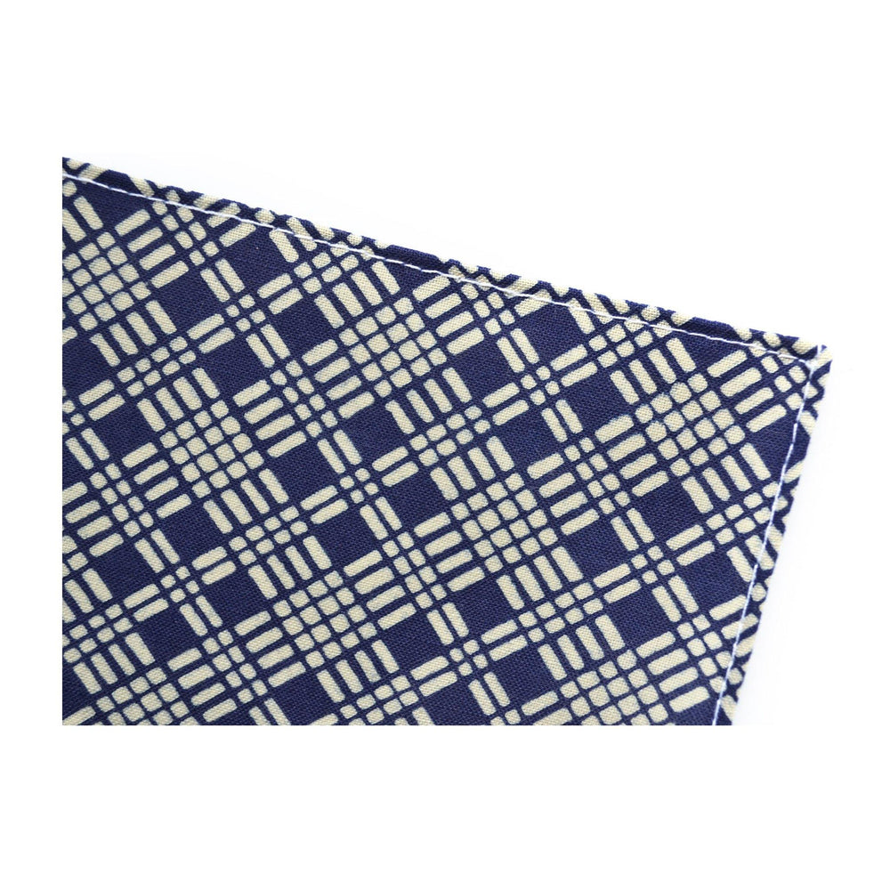 Japanese Cotton Pocket Square in Indigo Diamond  detail