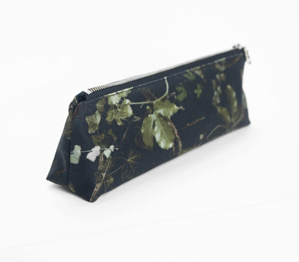 japanese denim pencil case botanical print side view
