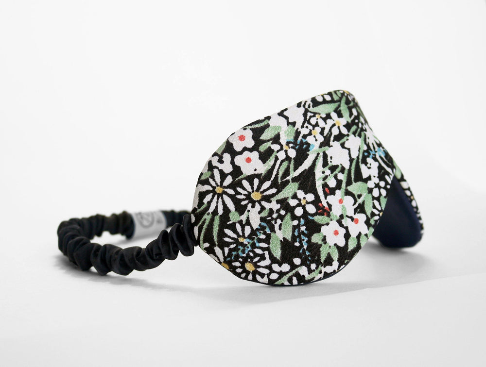 Japanese silk wicklow floral eye mask side view