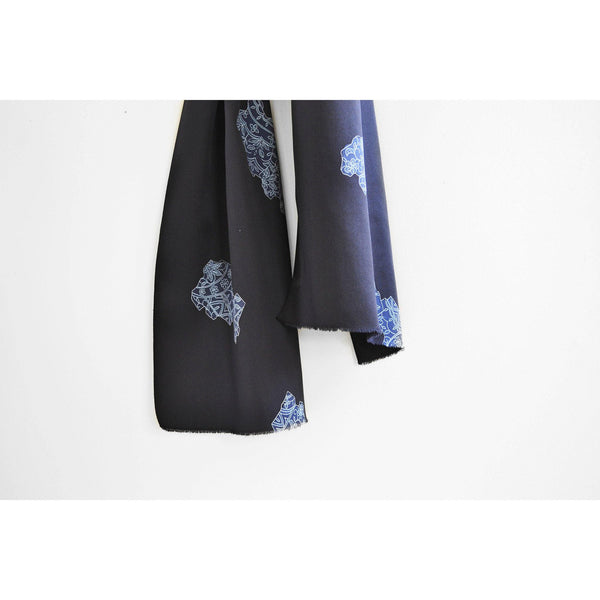 Japanese Silk Scarf in Indigo Abstract