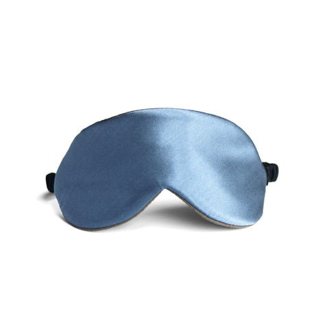 Silk Charmeuse Reversible sleep mask in lagoon blue