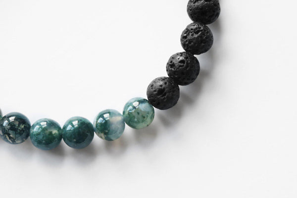 lava stone and moss agate stretch bracelet texture