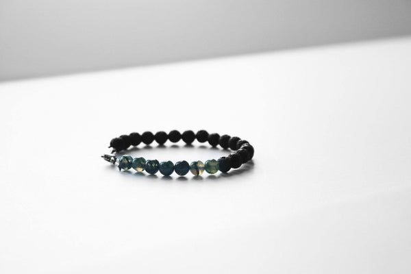 lava stone and moss agate stretch bracelet  styled