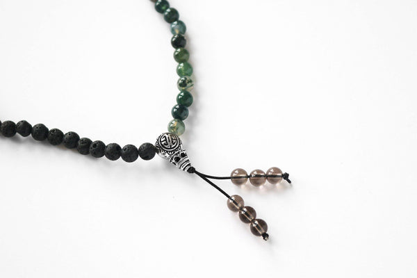 Lava stone and moss agate gemstone mala detail