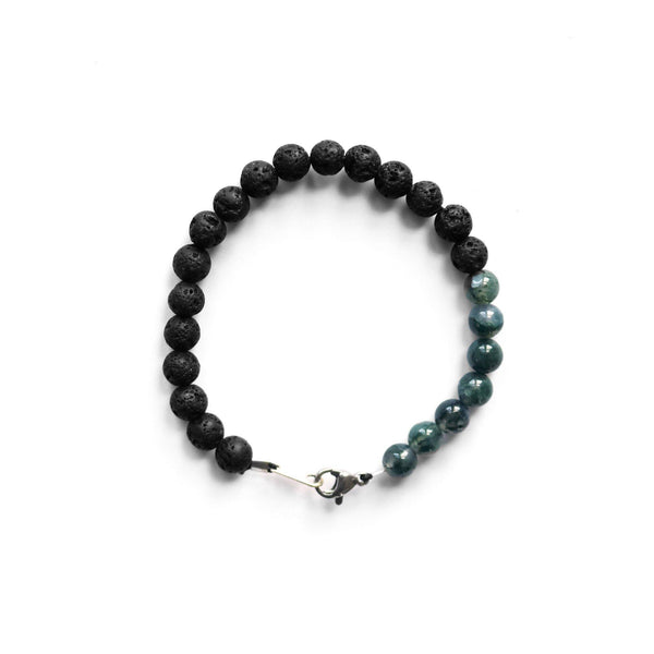 lava stone and moss agate stretch bracelet  thumbnail