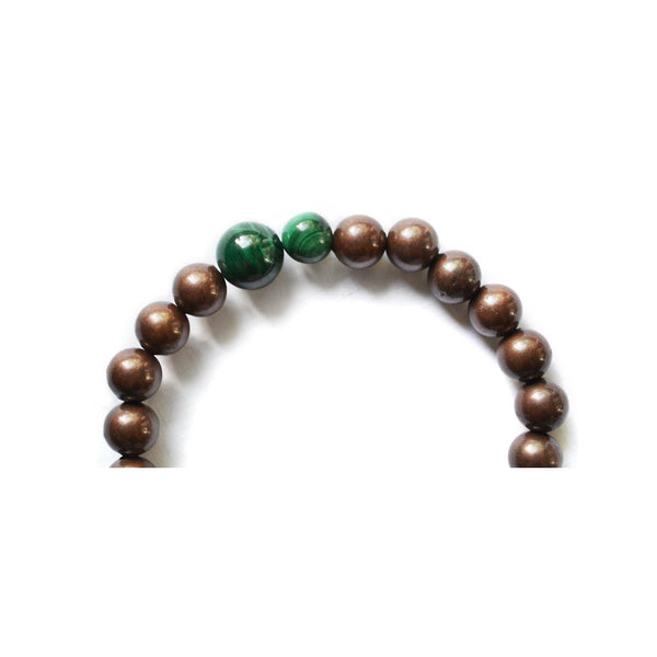 MIZU malachite and copper stretch bracelet