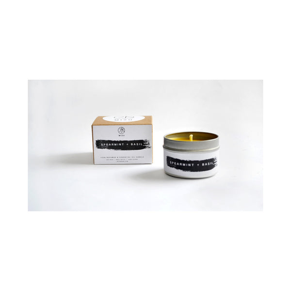 100% Beeswax Travel Candle / SPEARMINT + BASIL