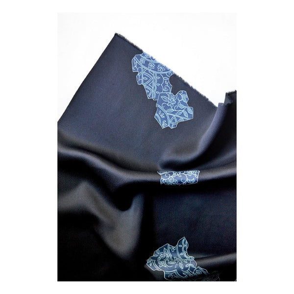 MIZU vintage Japanese Silk Scarf in Vintage Indigo Abstract