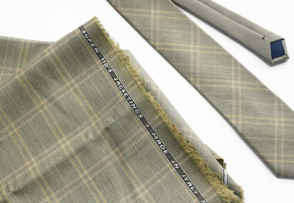 Green Tartan Merino Wool Selvedge Edge