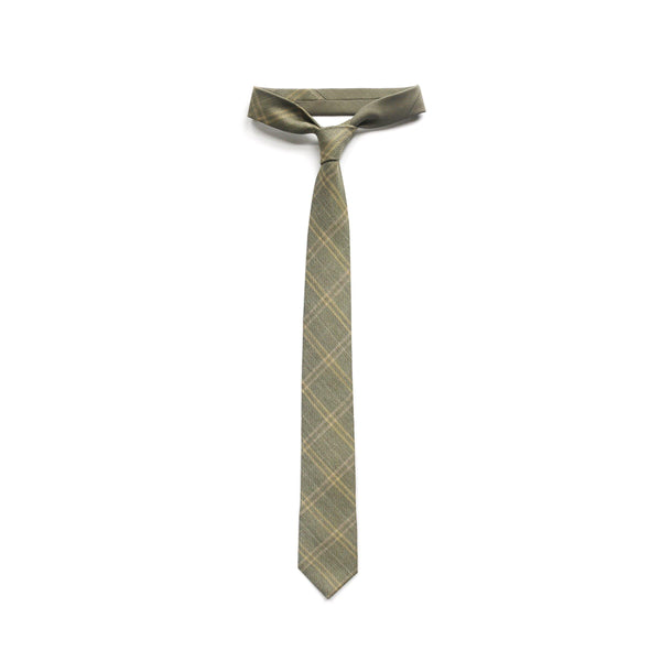 Green Plaid Necktie in Merino Wool Thumbnail