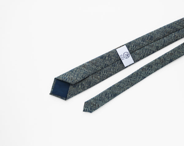 Japanese Wool Necktie in via greenery back label detail
