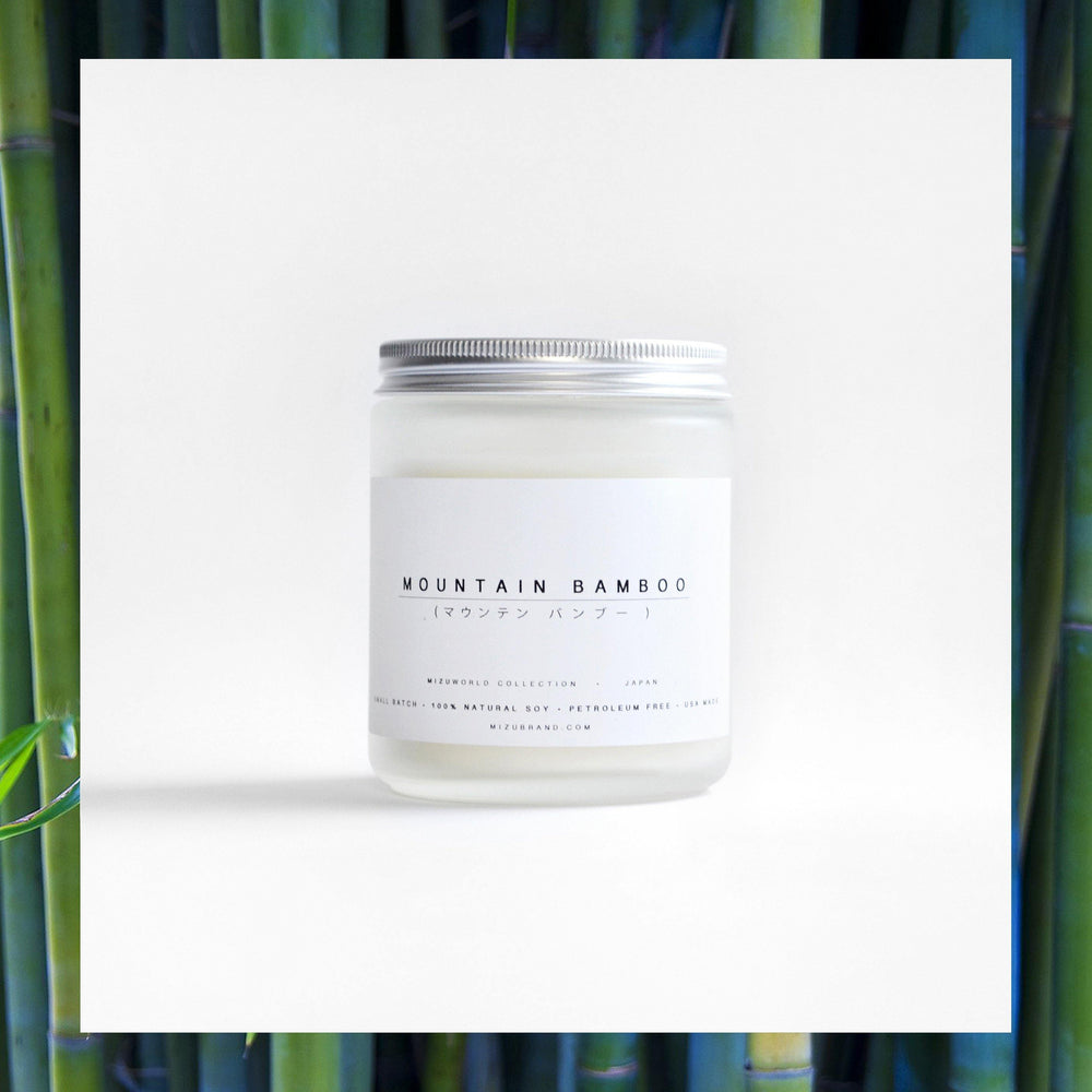 MIZU brand Mountain Bamboo essential oil  Soy candle