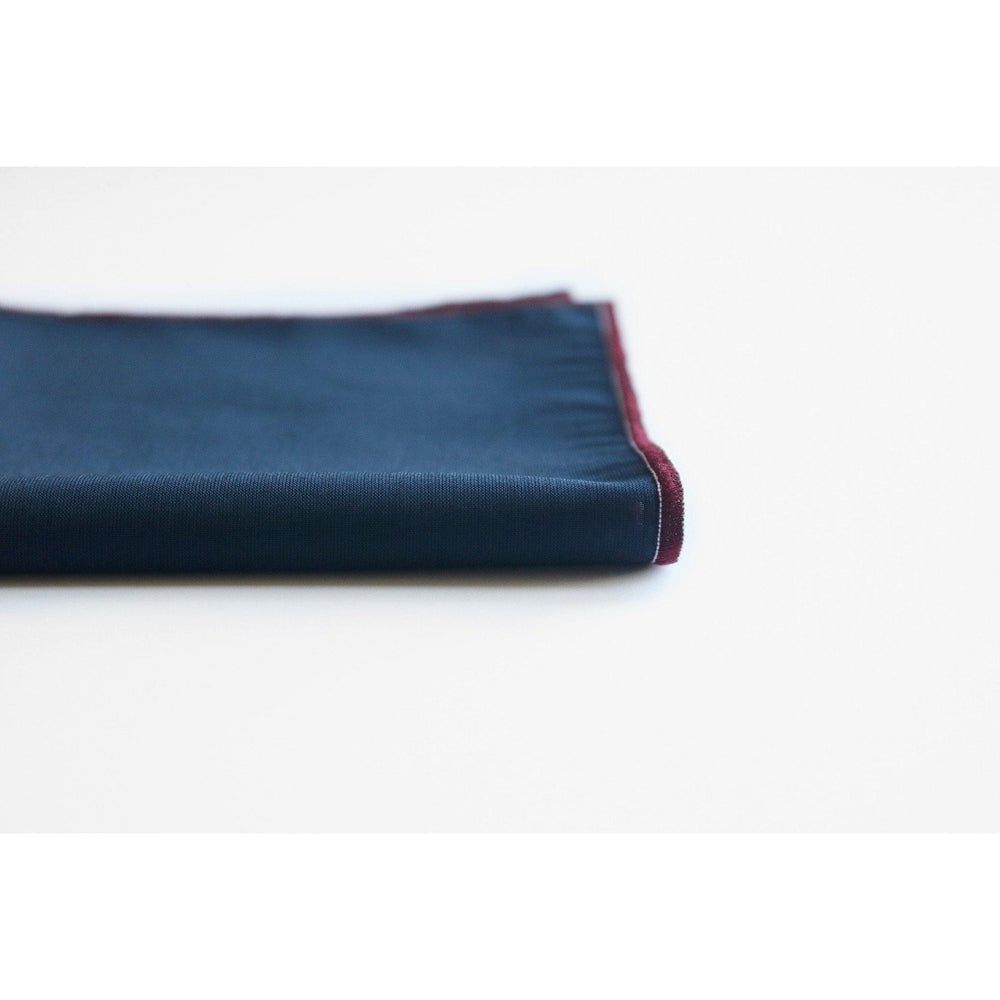 NAMSTO NAVY COTTON POCKET SQUARE DETAIL