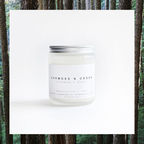 MIZU brand Oak moss and Cedar wood natural soy candle with essential oils