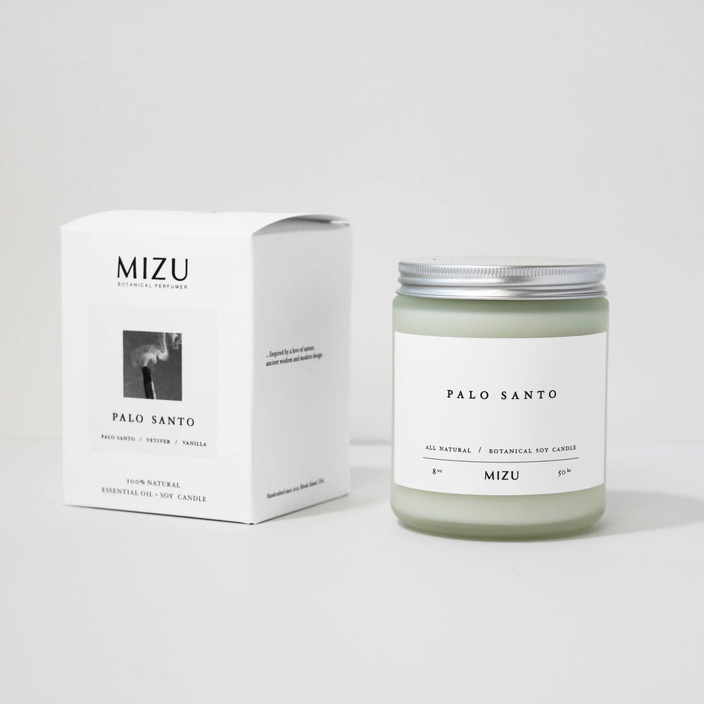 MIZU Palo Santo Candle Luxury packaging