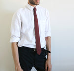 POTALA RED COTTON NECKTIE MODEL LOOK