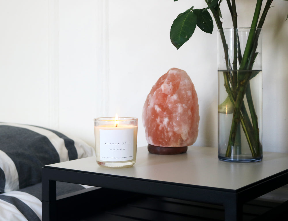 MIZU brand aromatherapy heart charka candle rose quartz environment