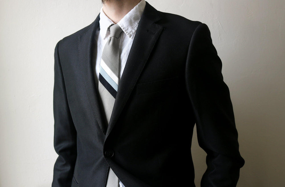 Hazel Green Stripe Necktie model look
