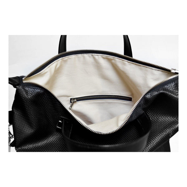 MIZU Cross Body Tote in Shadow Mesh  lining