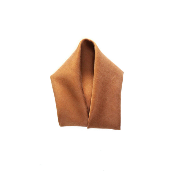 brown Silk Charmeuse Pocket Square fold