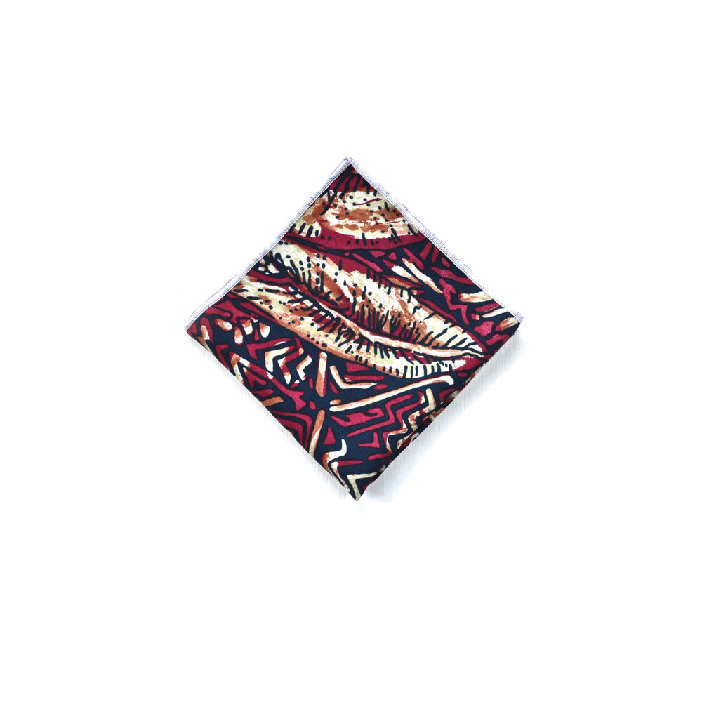 Silk Pocket Square in Crimson Palm