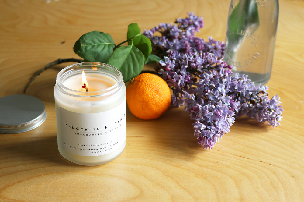 Tangerine and cypress natural essential oil soy candle citrus floral
