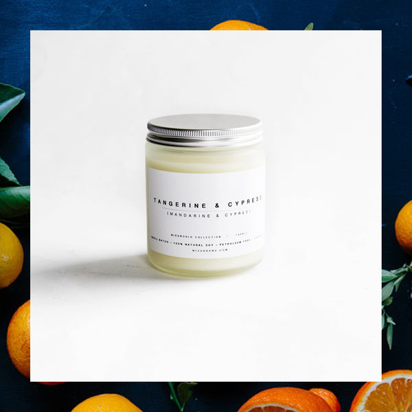 MIZU brand Tangerine and Cypress Natural Soy essential Oil Candle
