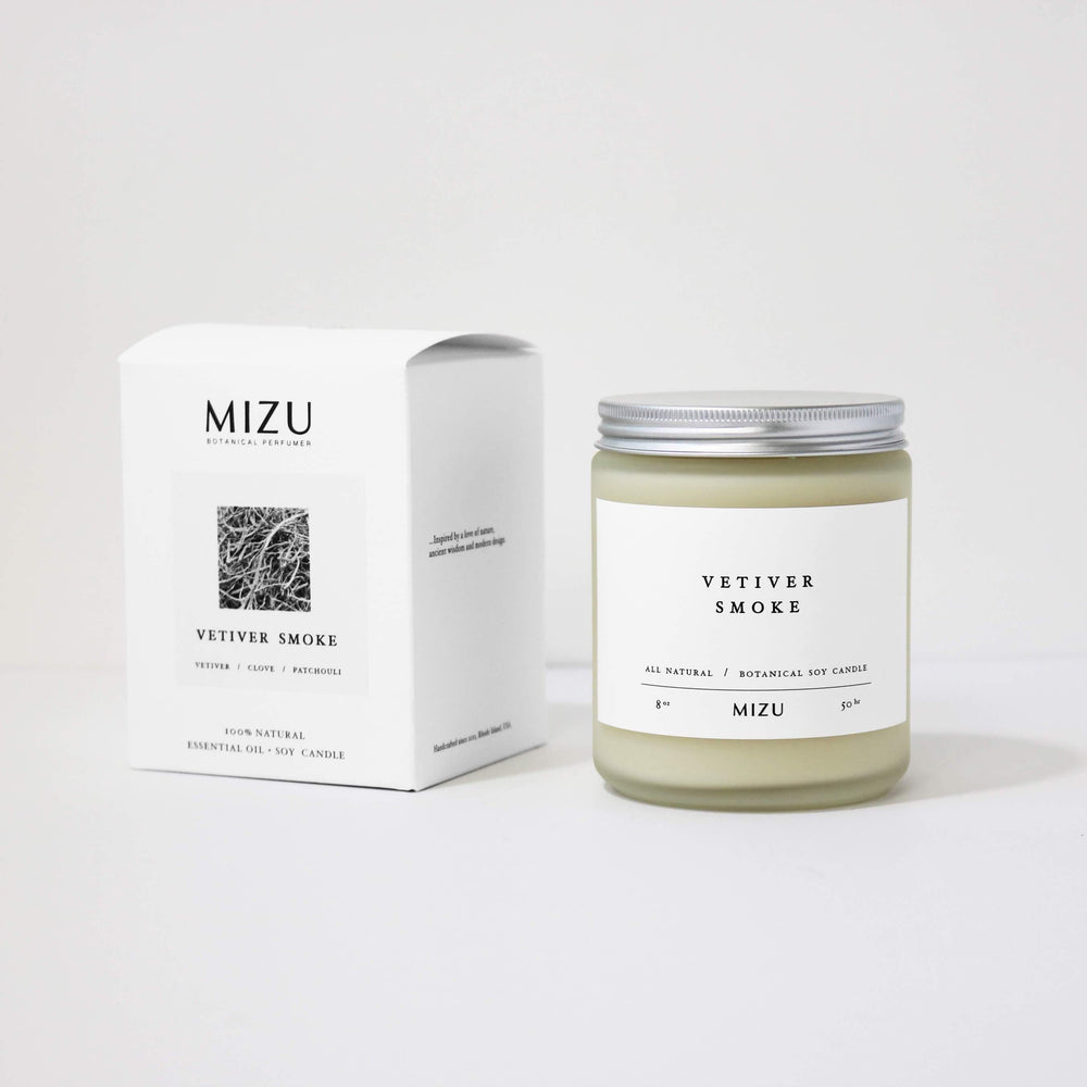 MIZU Botanical soy candle minimal package design
