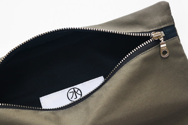 weatherproof cotton zip pouch interior detail
