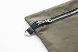 weatherproof cotton zip pouch leather hardware