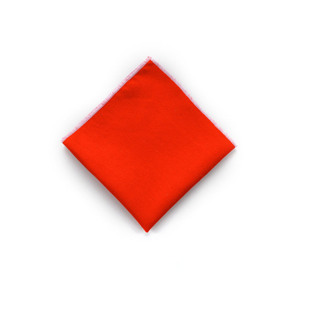 Wild Silk Pocket Square in Bold Vermillion
